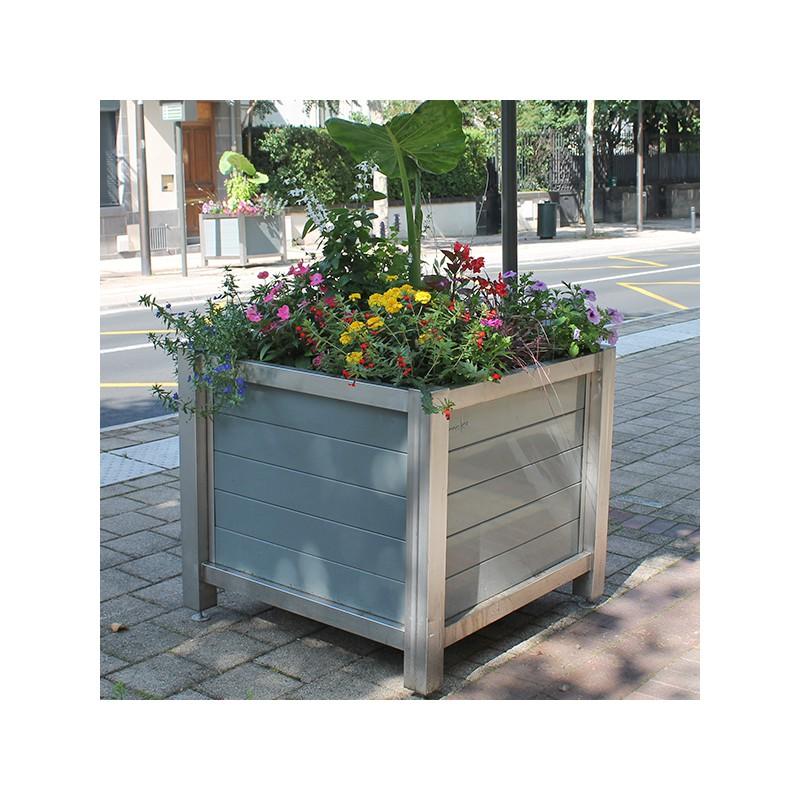 Bac fleur urbain ch ssis inox et parement lames for Jardiniere exterieure en aluminium