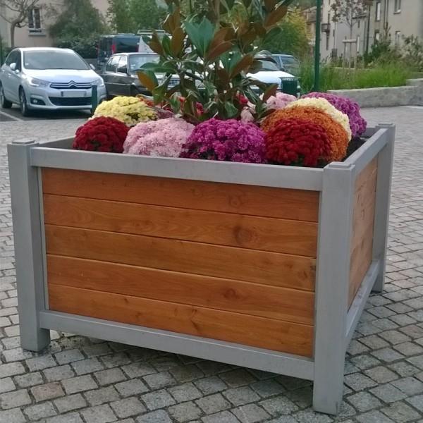 Bac à fleur urbain Châssis Inox et Parement lames Bois